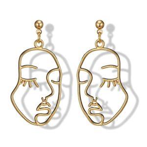 boucles d'oreilles visage féminin doré