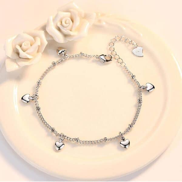beau bracelet coeur en argent