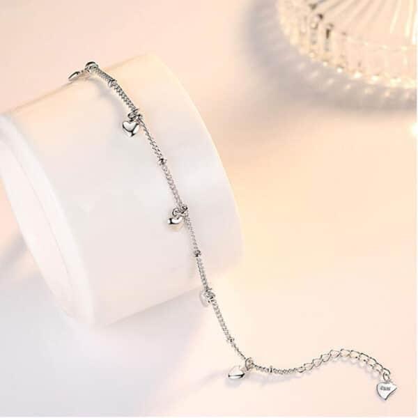 joli bracelet coeur en argent