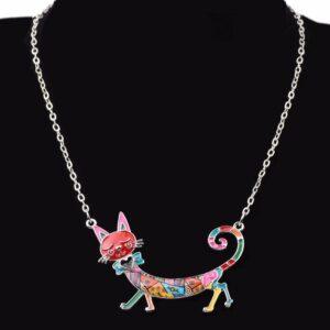 Collier chat multicolore émaillé