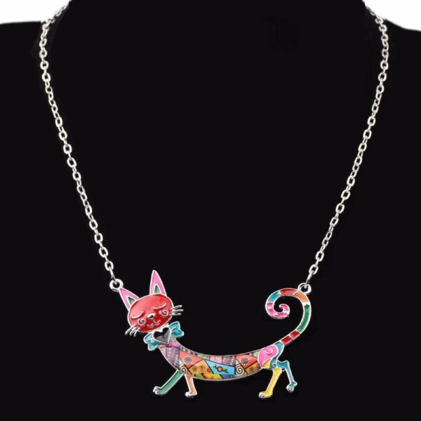 Collier chat multicolore émaillé