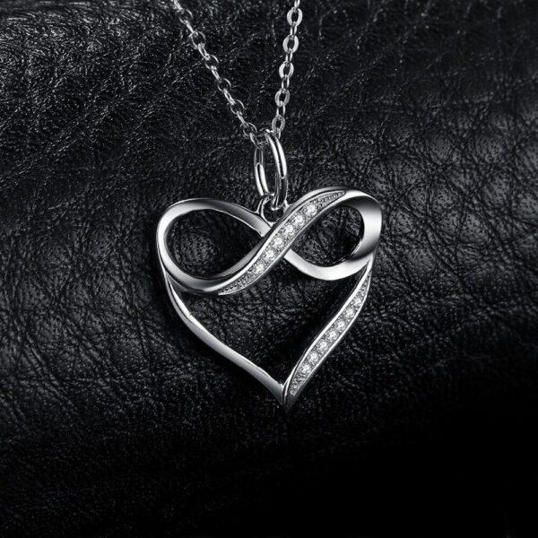 Pendentif coeur argent et infini