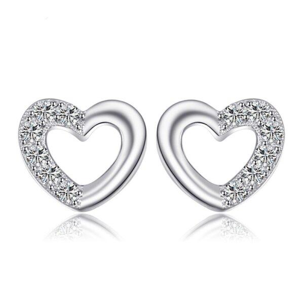 belles boucles d'oreilles coeur en argent