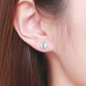 boucles d'oreilles en argent pas cher vert d'eau