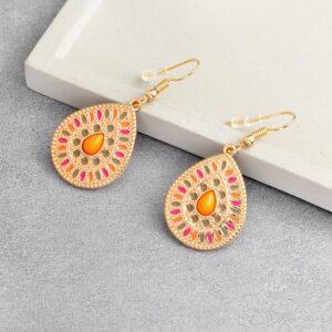boucles d'oreilles fantaisie pendantes ethniques orange