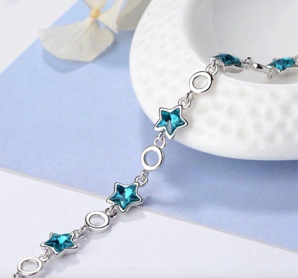 bracelet étoiles bleues en argent
