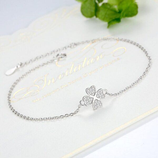 bracelet trèfle en argent 4 feuilles