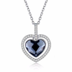 collier bleu saphir coeur