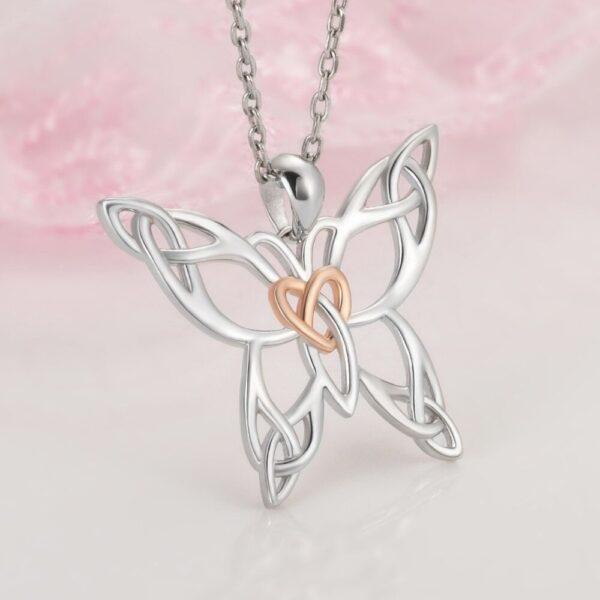 collier papillon en argent coeur doré rose
