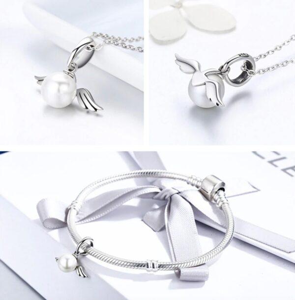 collier perle blanche en argent aux ailes d'ange pas cher