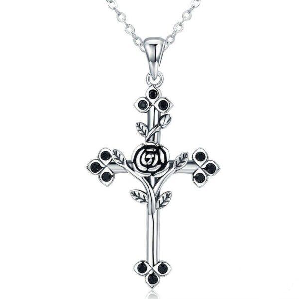 pendentif croix et rose en argent