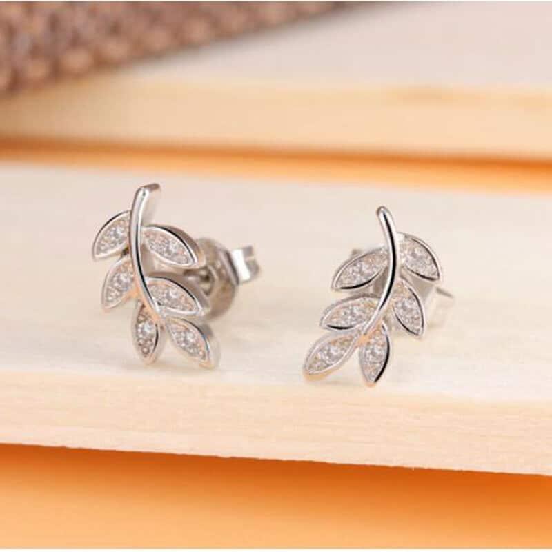 Boucles d'oreilles feuilles de laurier femme