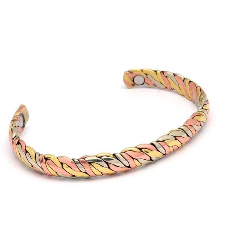 Bracelet en cuivre 3 tons 2 aimants