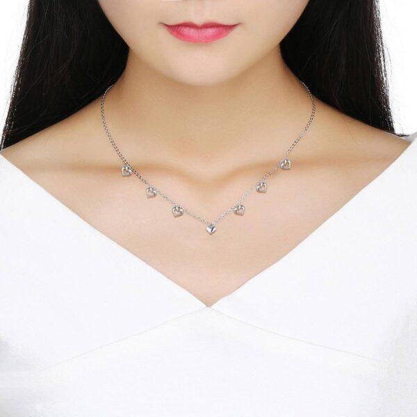 beau collier de breloques coeur en argent
