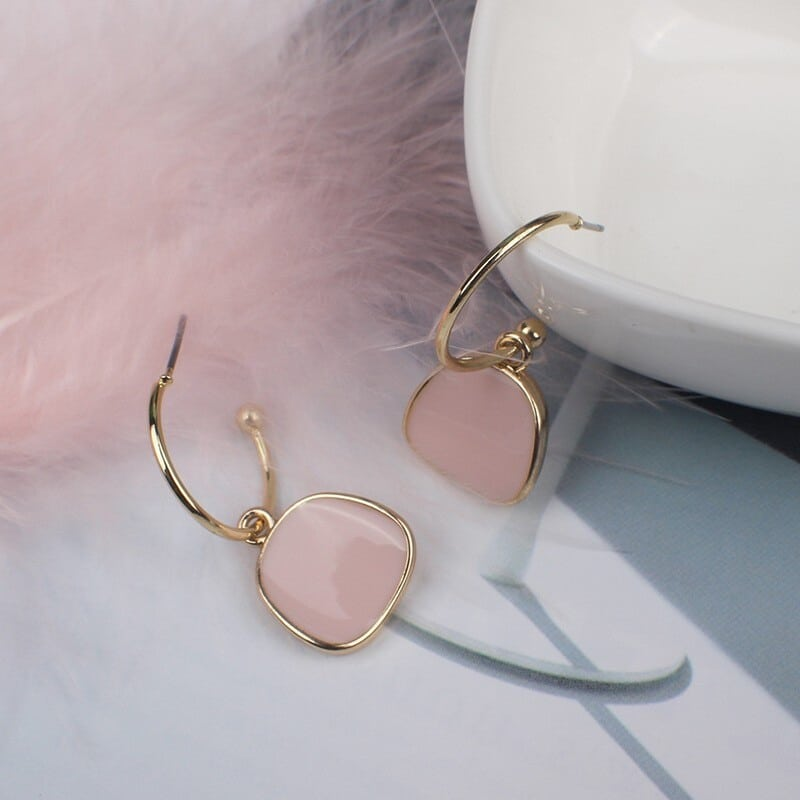 boucles d'oreilles dorées pas cher misty rose