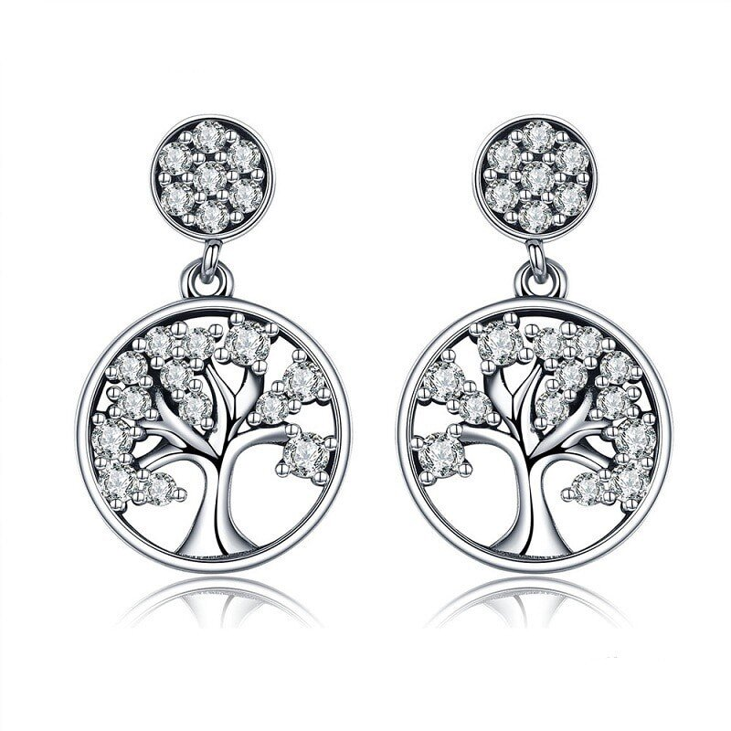 boucles d'oreilles en argent arbre de vie