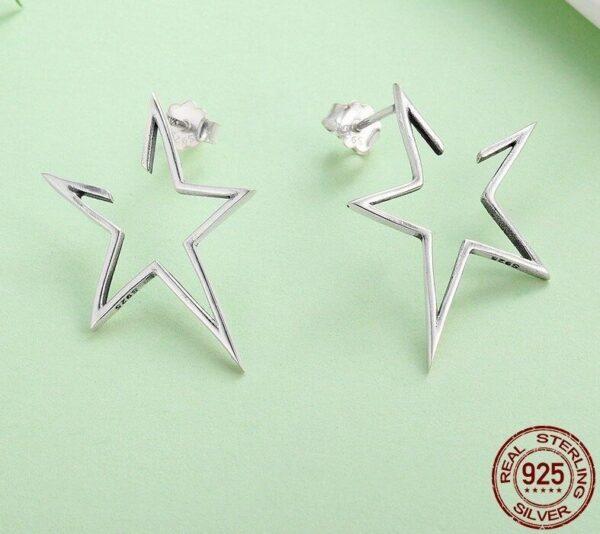 clous d'oreilles en argent étoiles ajourées