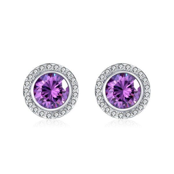 clous d'oreilles iris violet et cristaux blancs