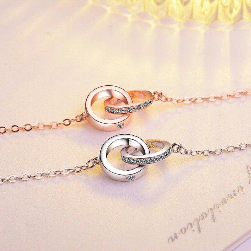 collier 2 anneaux en argent blanc ou or rose