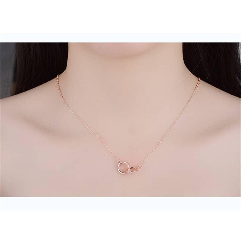 collier argent 2 anneaux couleur or rose