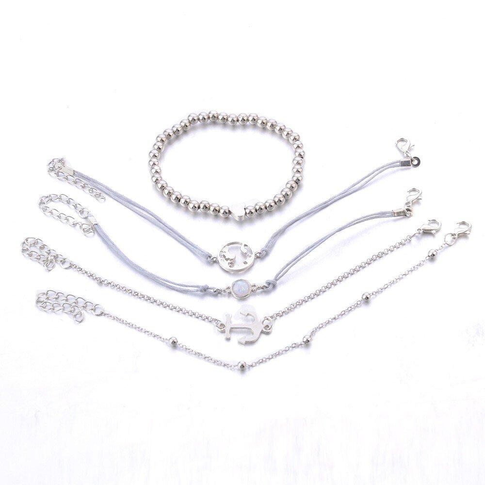 ensemble 5 bracelets fantaisie ancre marine