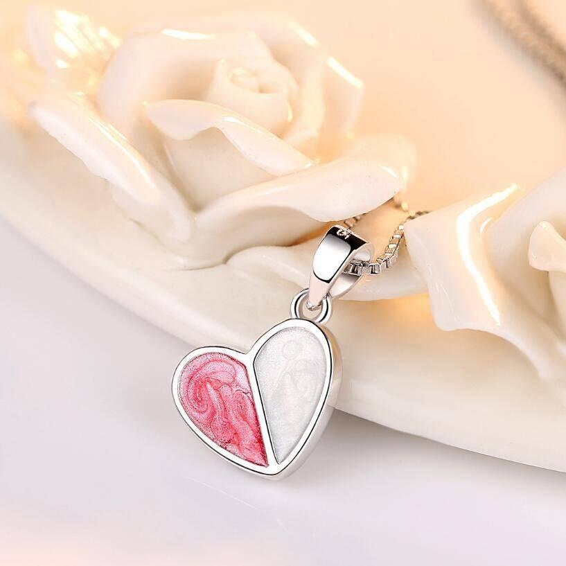 pendentif coeur en argent rose toutmaline et blanc émail et argent
