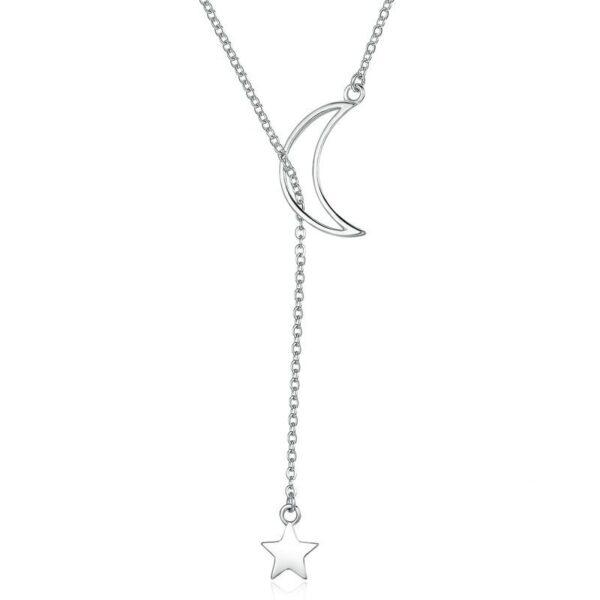 Collier en argent lune ajourée traversée par une étoile