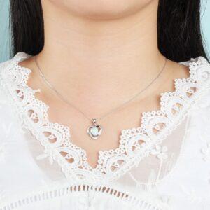 Pendentif coeur et opale pas cher