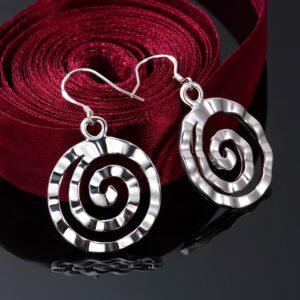boucles d'oreilles pendantes plaqué argent tourbillon