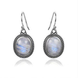 boucles d'oreilles pierre de lune et argent