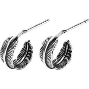boucles d'oreilles plume enroulée en argent