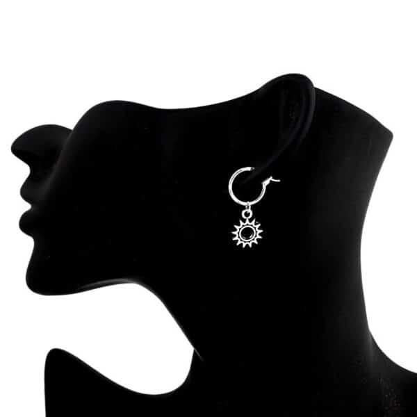 boucles d'oreilles soleil argenté