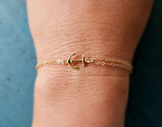 bracelet doré ancre marine pas cher