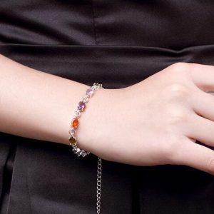 bracelet en argent fille de cristaux multicouleur