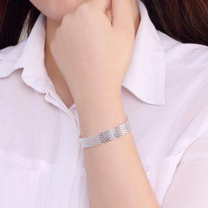 bracelet mailles plaqué argent femme