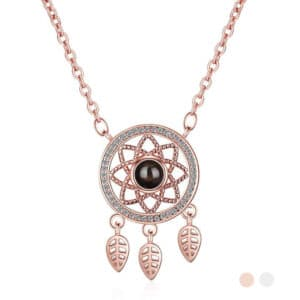 collier attrape rêves pas cher or rose
