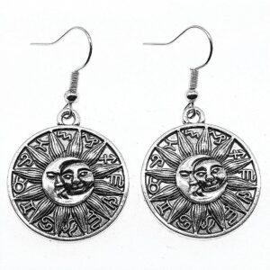 pendantes rondes soleil et signes du zodiaque