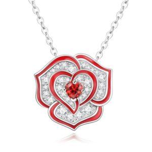 pendentif fleur rose rouge et cristaux blancs