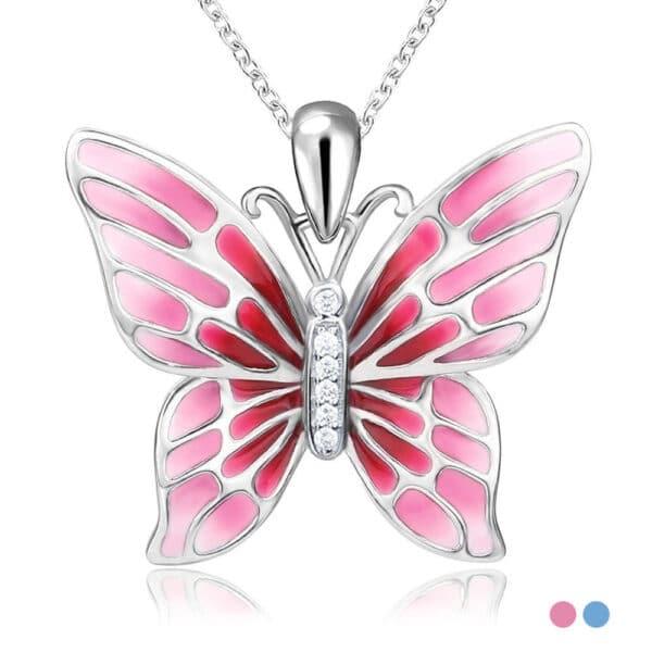 pendentif papillon en argent ailes émaillées