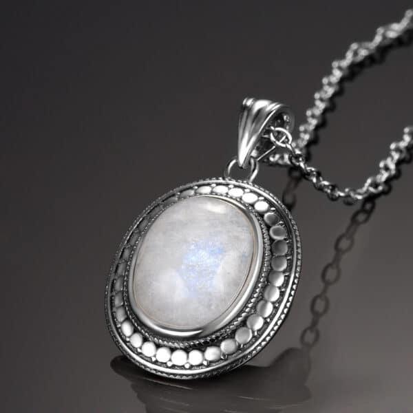 pendentif pierre de lune style vintage