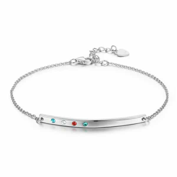 bracelet argent barre ondulée sertie de cristaux