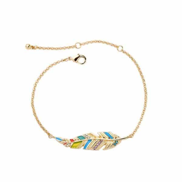 bracelet doré chaîne feuille