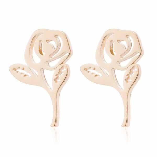 clous d'oreilles rose dorée