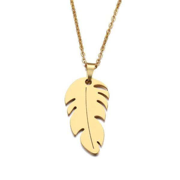 collier feuille doré
