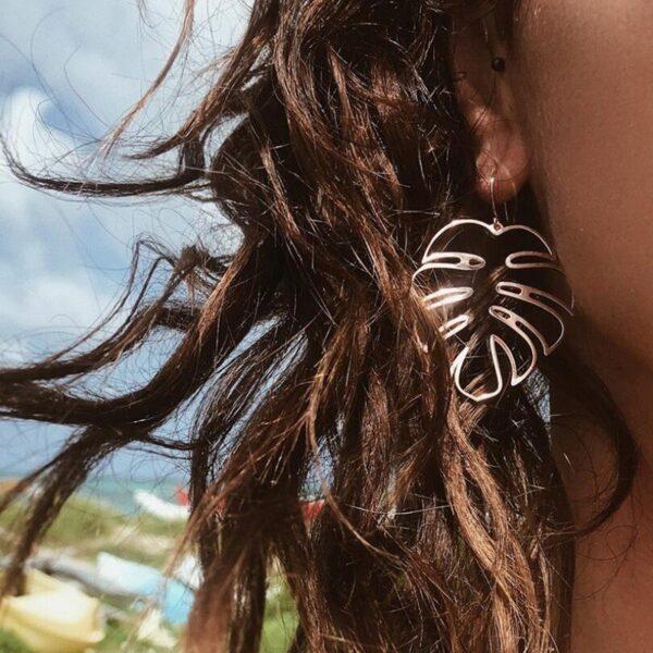 grandes boucles d'oreilles pas cher feuille de palmier tropical