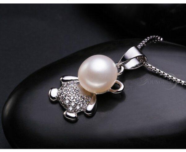 pendentif ourson pas cher argent et perle blanche