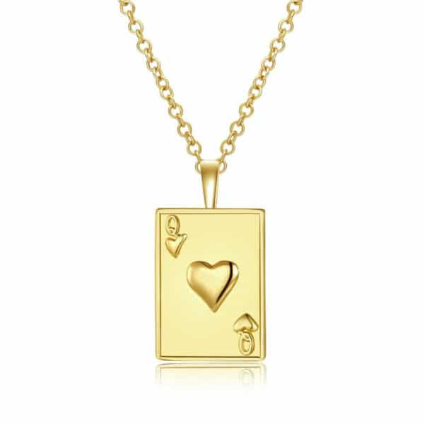 pendentif reine de coeur doré